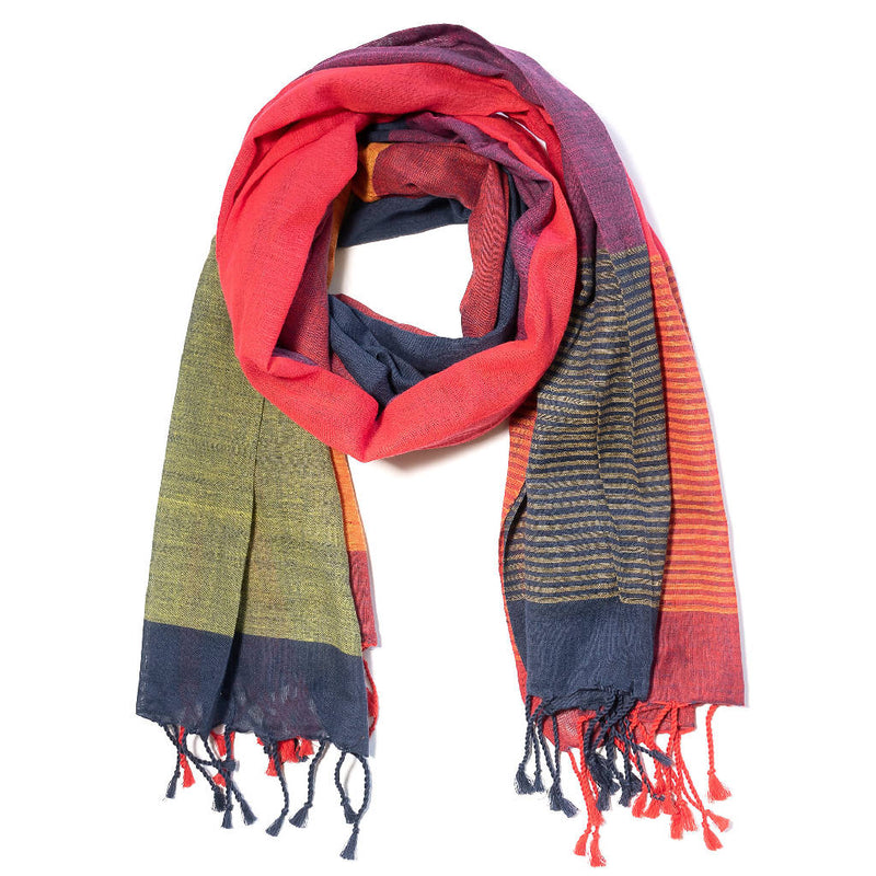 Meena- Organic Cotton scarf stripe at bottom - [product-type] - Inclusive Trade