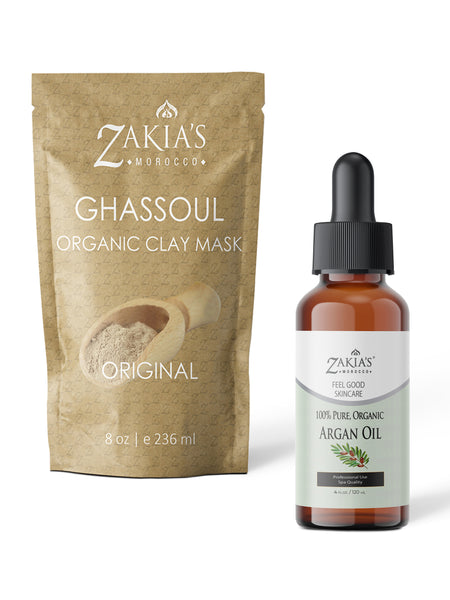 "Organic Moroccan Ghassoul ""Rhassoul"" Clay Face and Hair Mask - Unscented 8 oz"