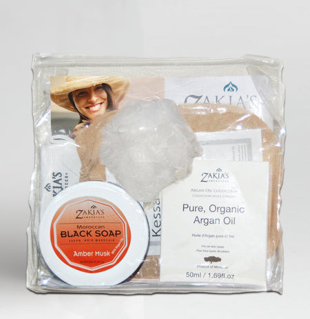 Moroccan Black Soap Kessa Exfoliating Gift Sets - Rose