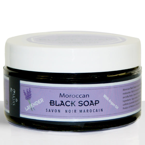 Moroccan Black Soap Exfoliating Kessa Gift Box  -  Lavender