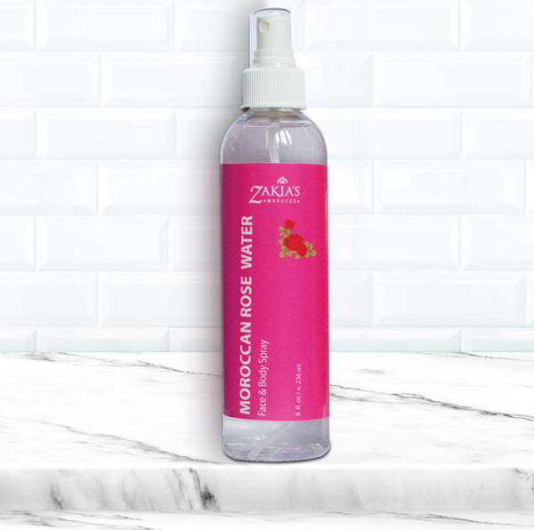 Moroccan Rose Water Spray - Face and Body - 8 oz