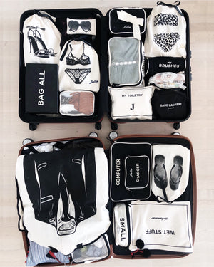 Organized suitcase with Packing cubes, travel bags, organizing bags from Bag-all