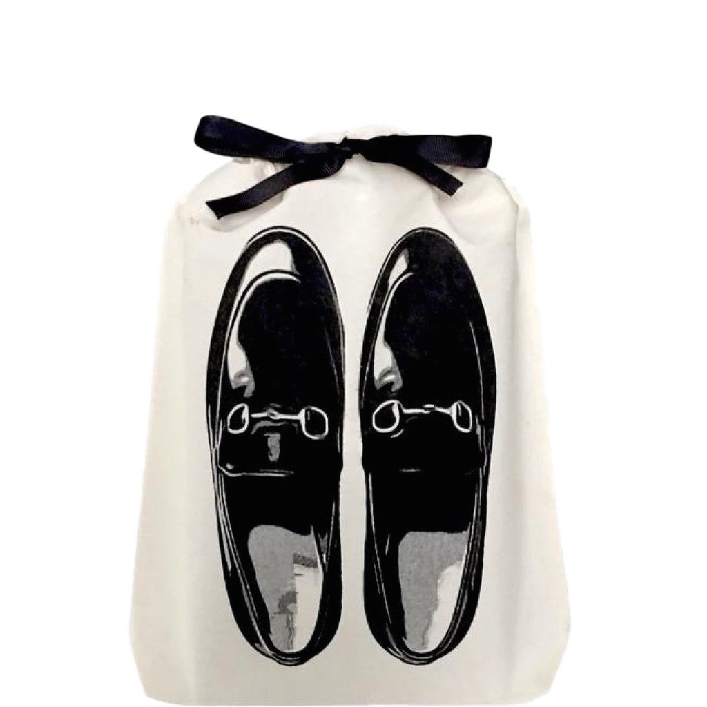 Shoe bag with loafers printed on the front.