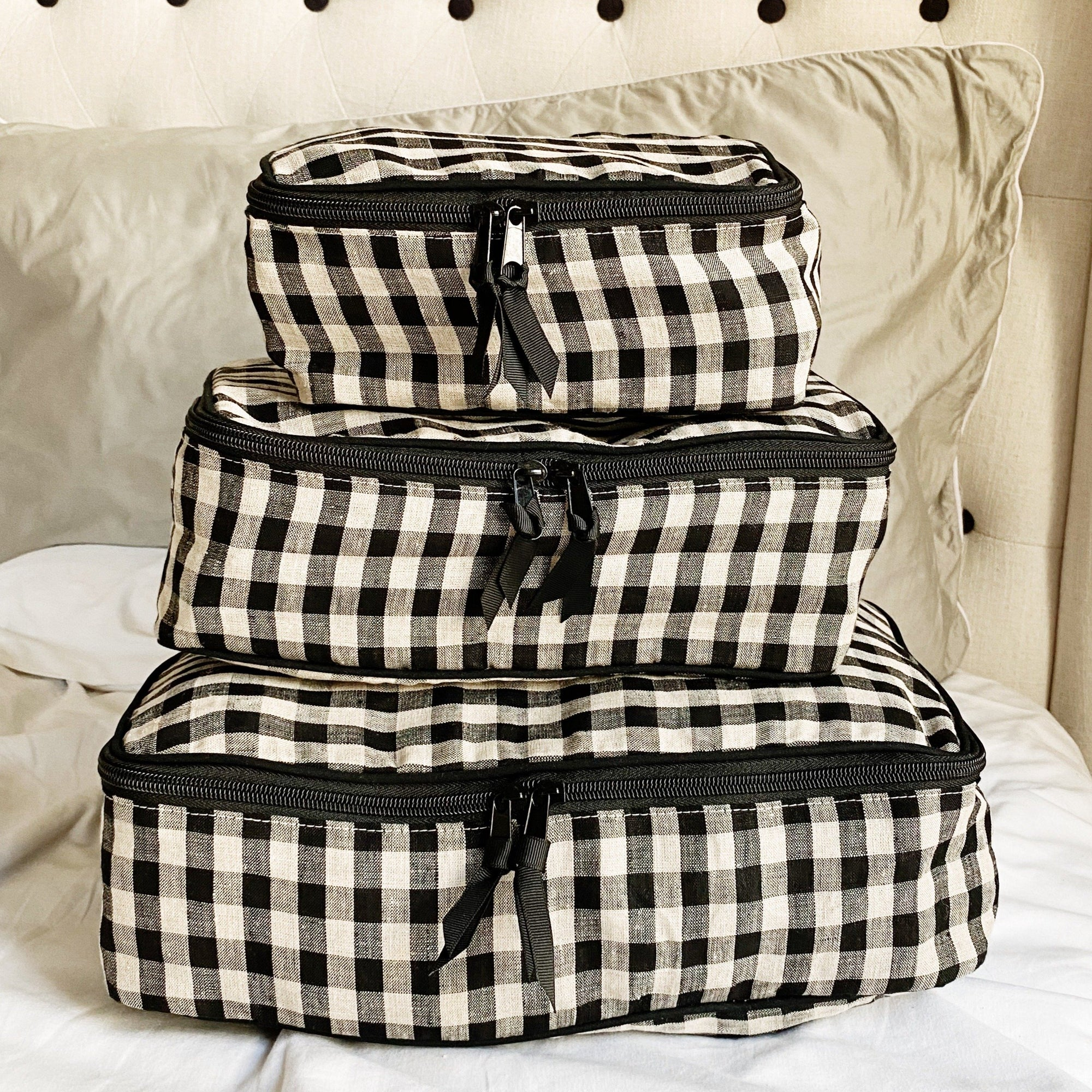 Packing Cubes Gingham Checkered Linen - Bag-all Europe