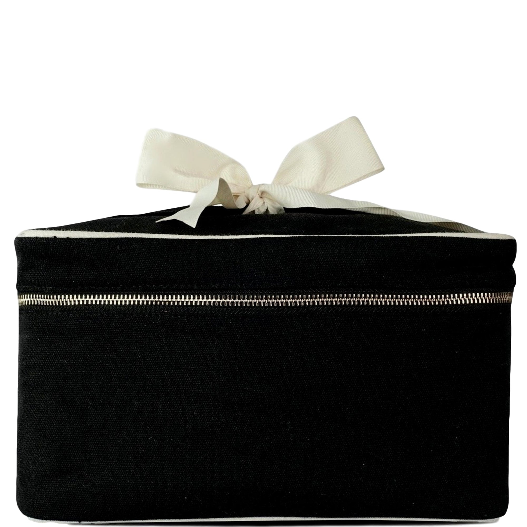 Large black blank beauty box with white details and a white bow attached to the handle.