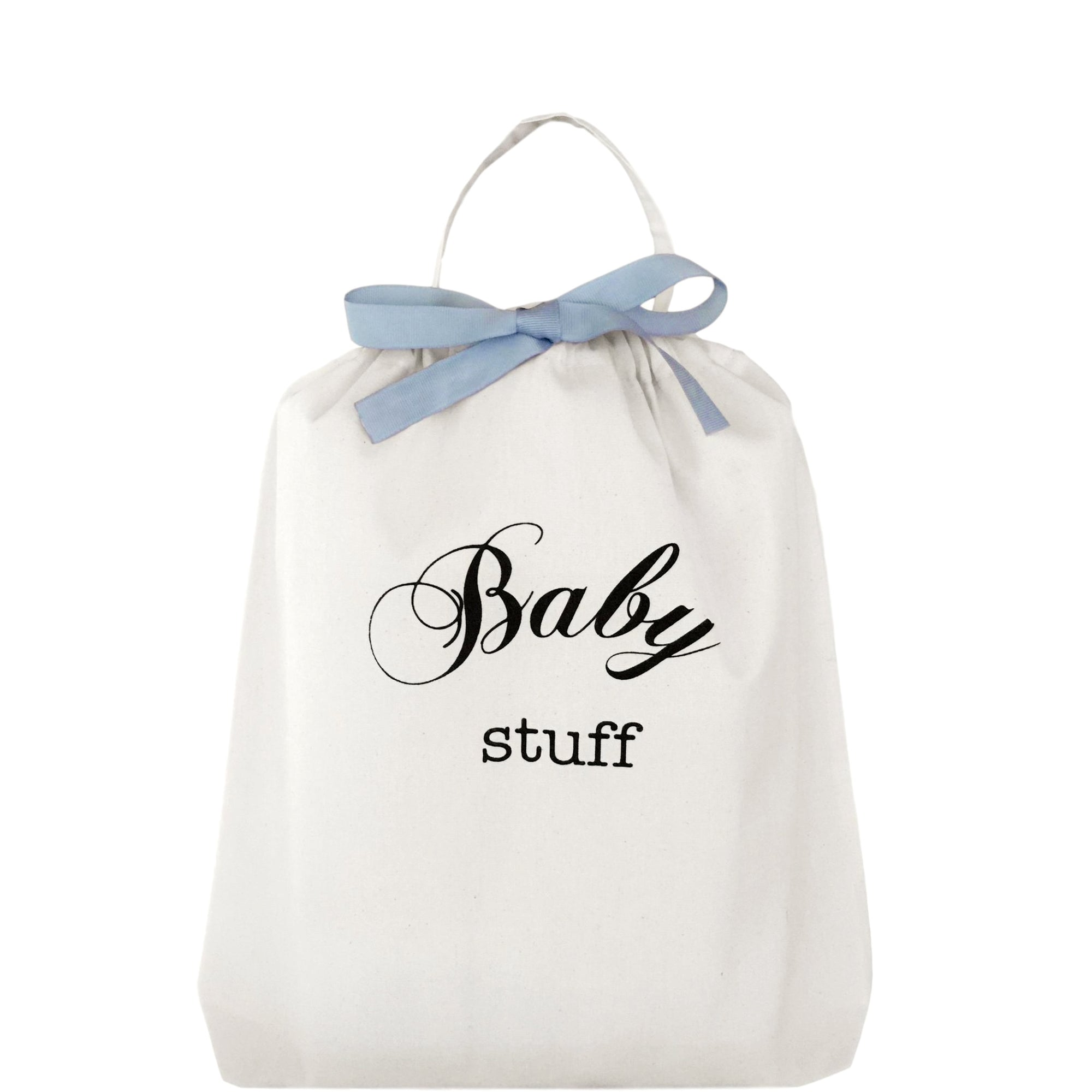 "Bag with ""baby stuff"" printed on the front."