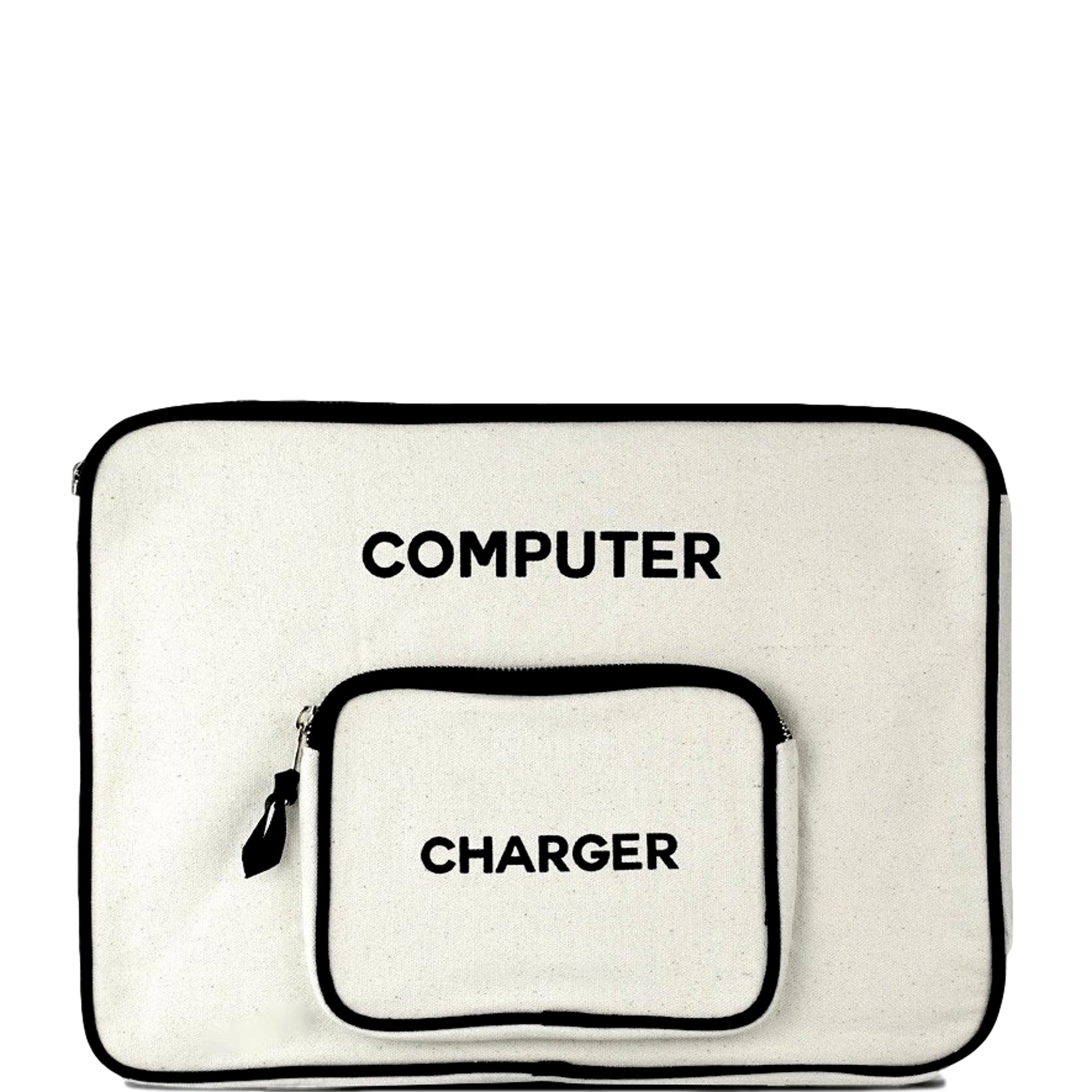 Computer case in white with an extra pocket for your charger attached on the front.