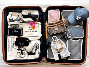 Packing cubes, lingerie bag, my bling bling case