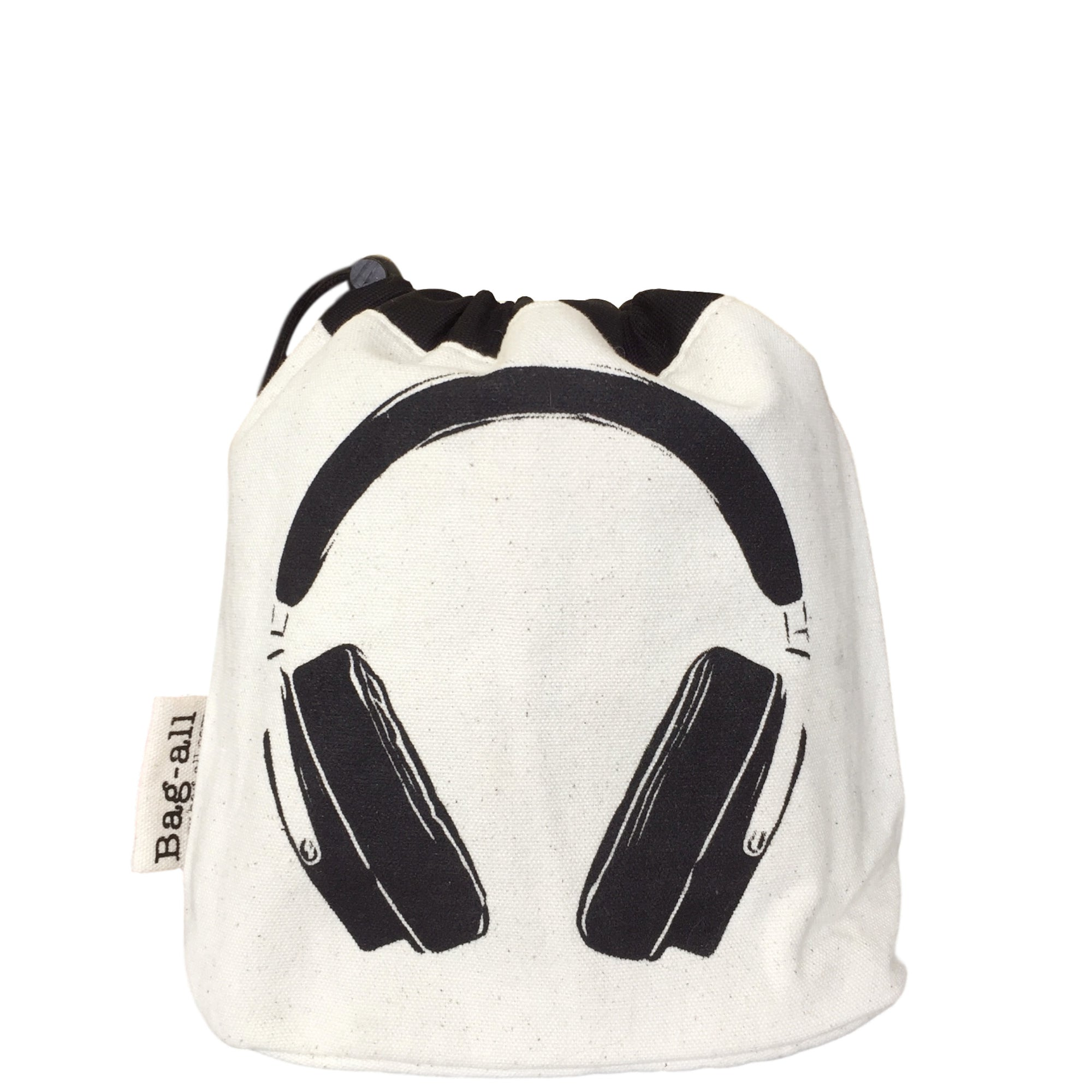 Headphone case with a drawstring pull to close with headphones printed on the front.