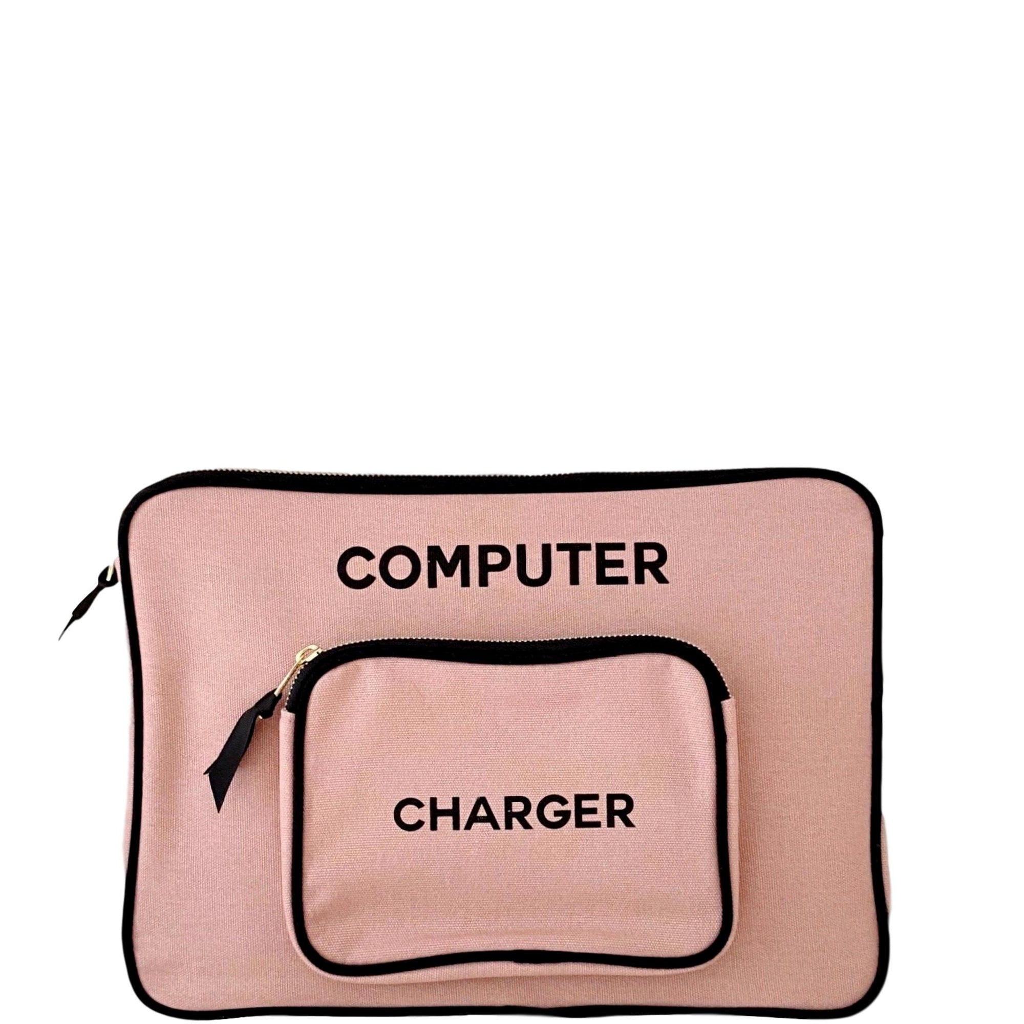 Pink computer case with an attached charger pocket.