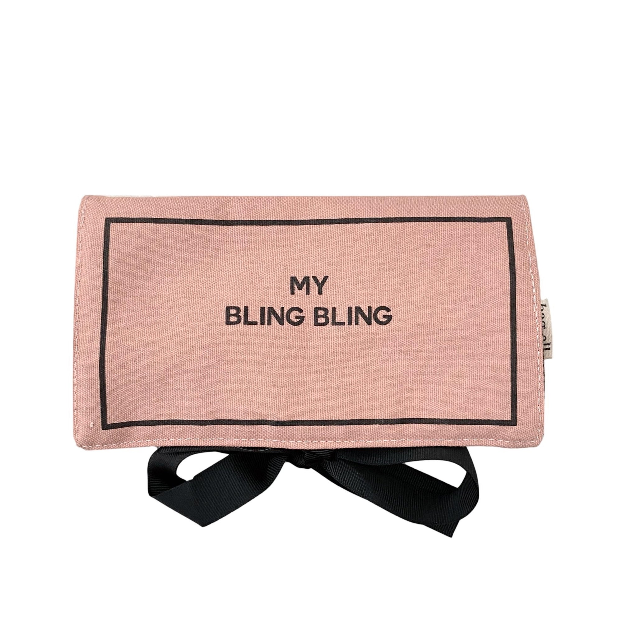 "Pink Jewelry case with ""my bling bling"" on the front in black."