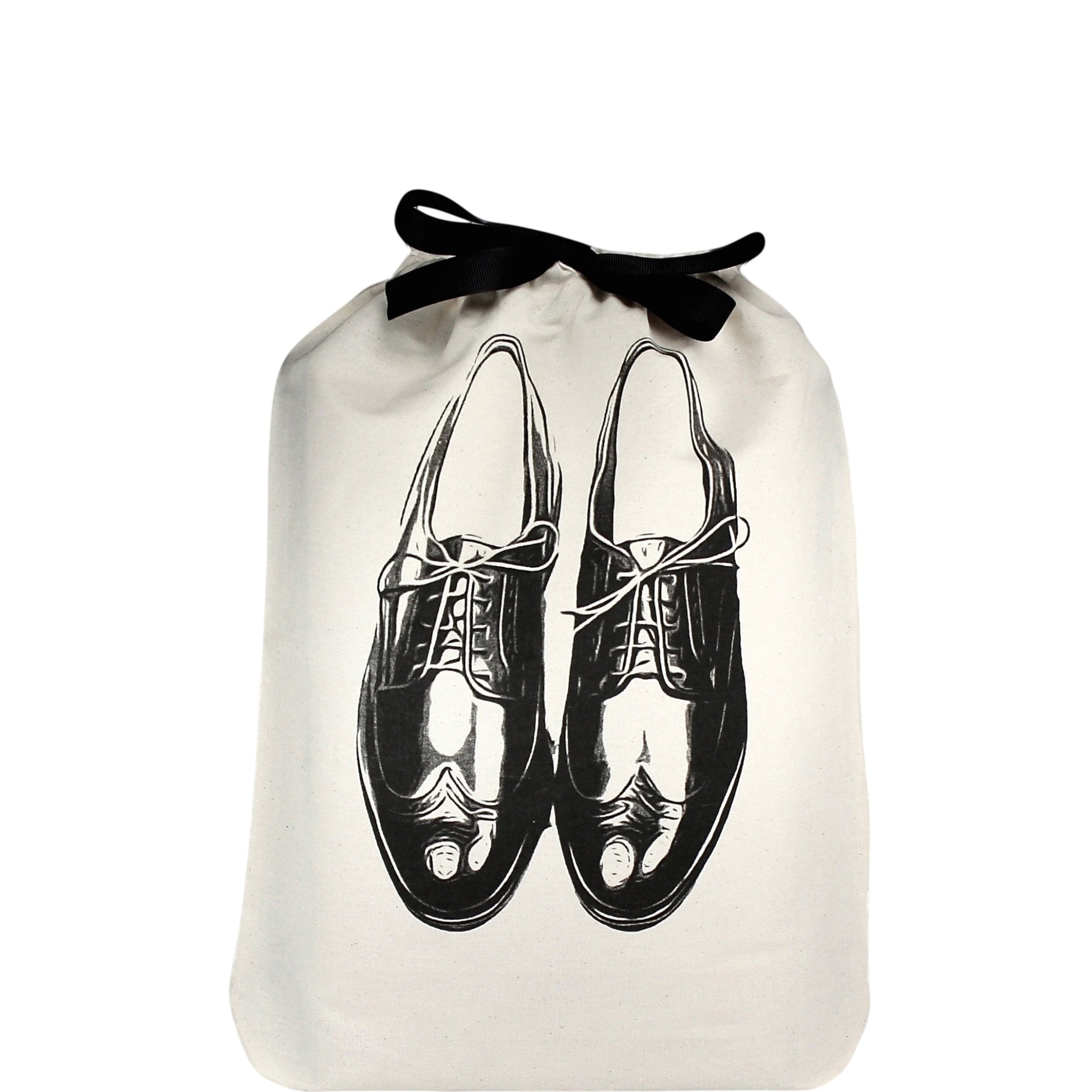 Men's shoe bag with mens dress shoes printed on the front.