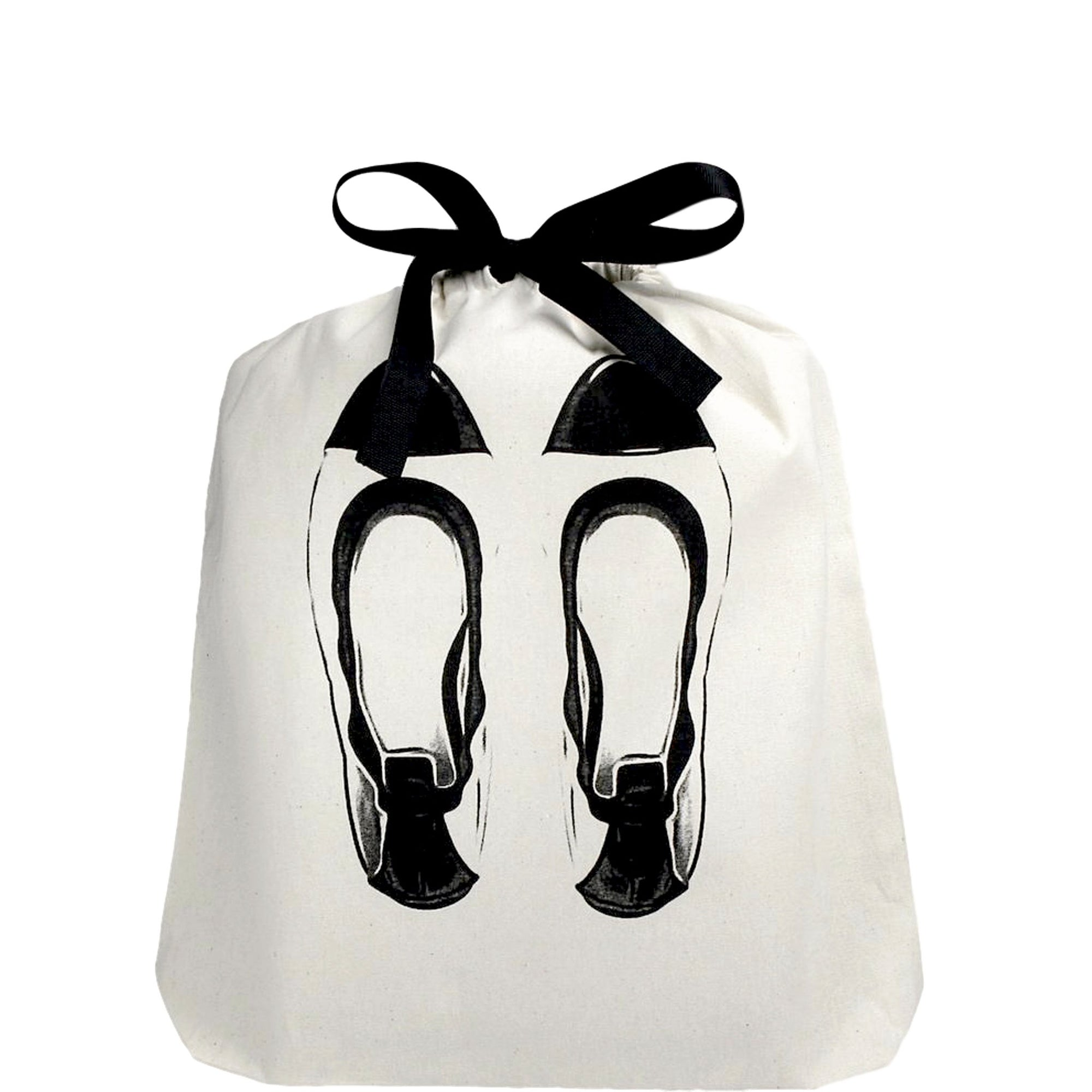 Organizing shoe bag in white with Ballet flats printed on the front.