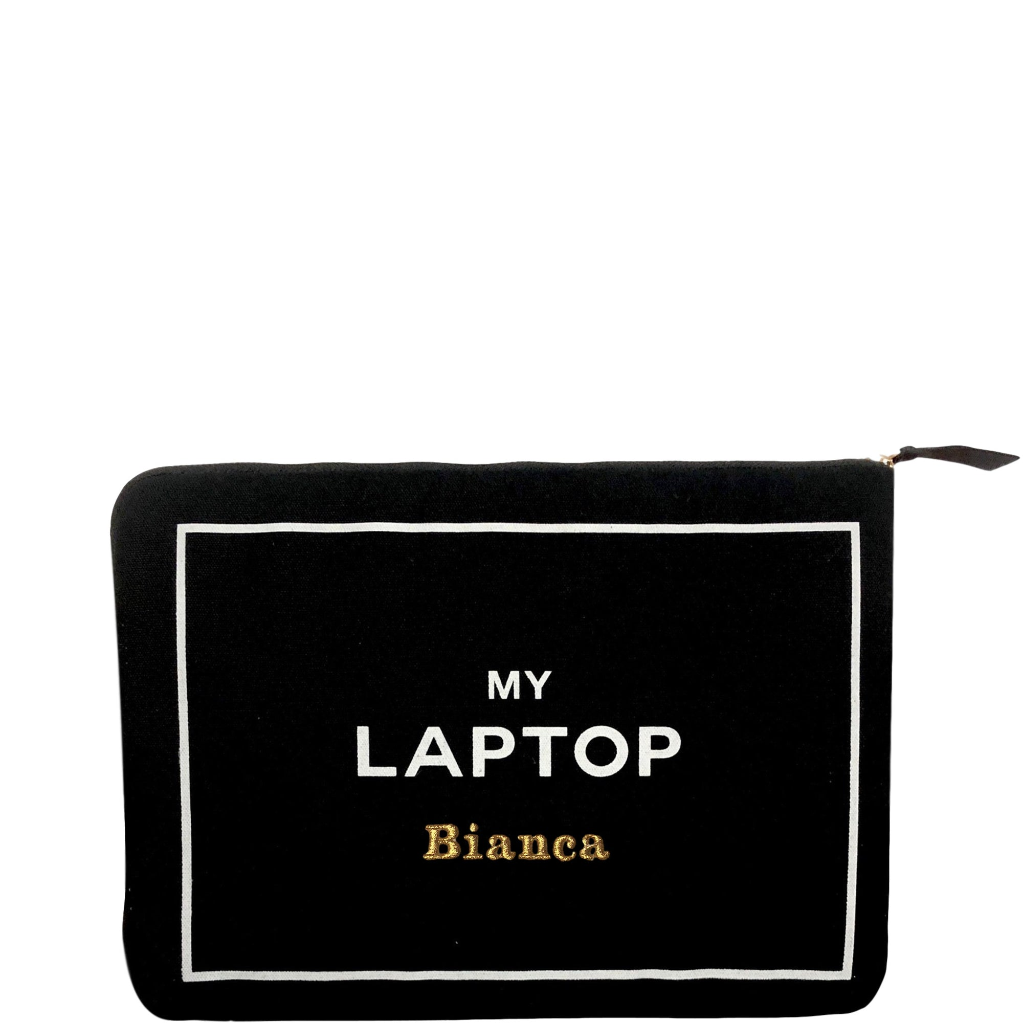 "Black padded laptop case with ""my laptop"" printed on the front."