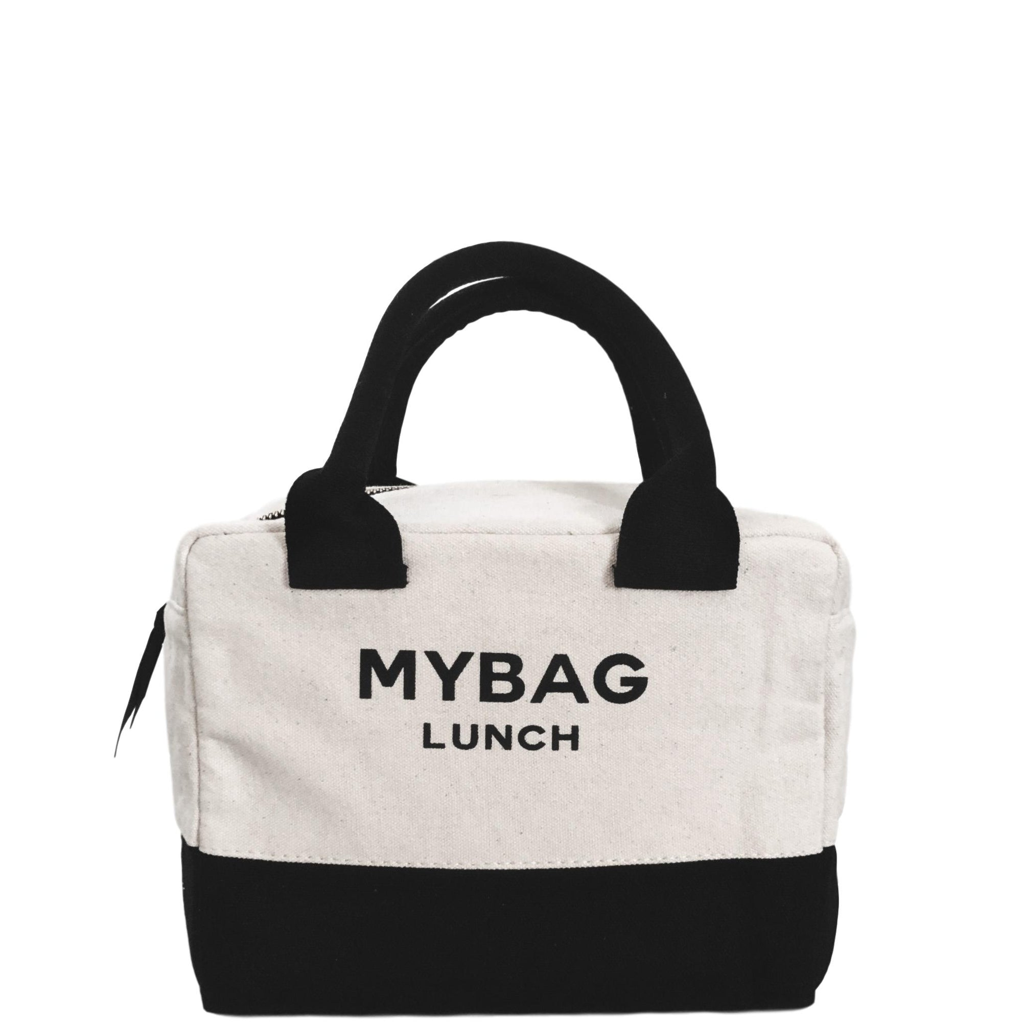 "White and black lunch box with ""My Bag Lunch"" printed on the front."