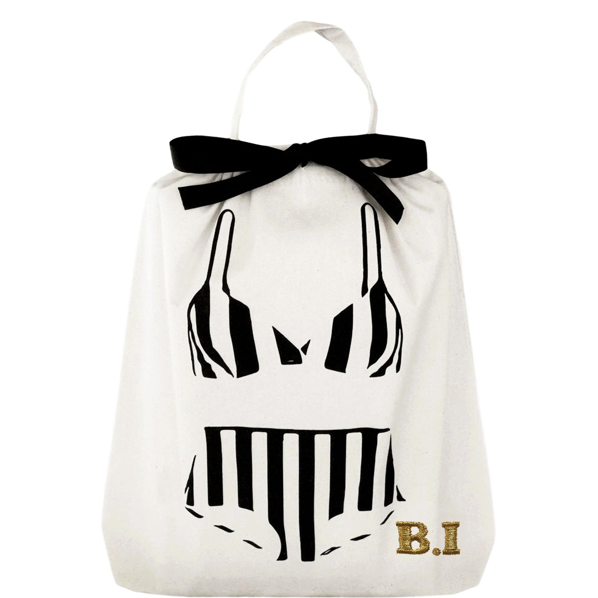 A bikini bag with a striped bikini printed on the front.