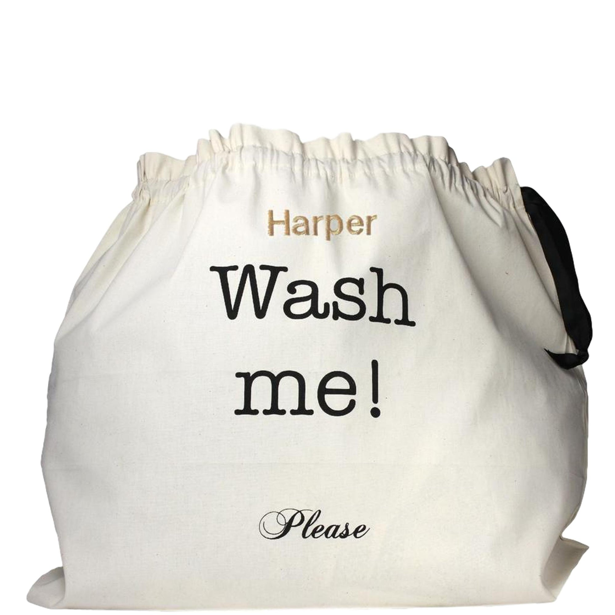 "Large laundry bag with ""wash me"" printed on the front."