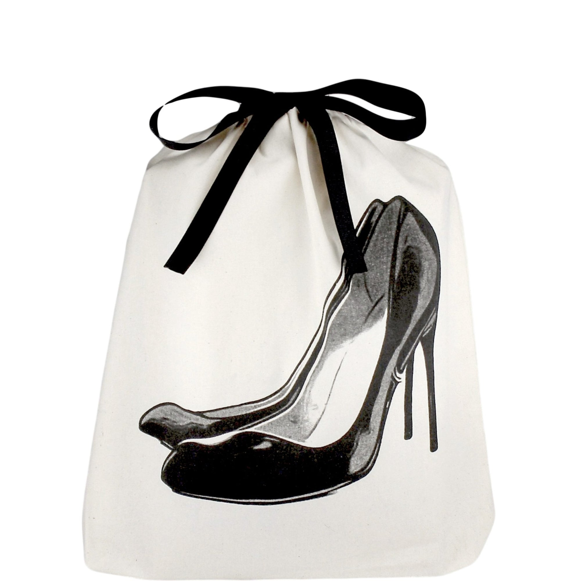 Shoe bag with black pumps printed on the front.