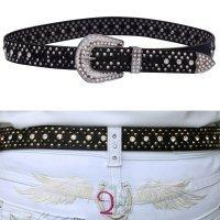 2KGrey Ladies Leather Belt with Studs and Crystals - Hat - A - Tack