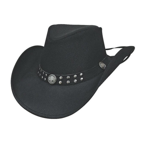 Bullhide Alston Black  Leather Outback Hat - Hat - A - Tack