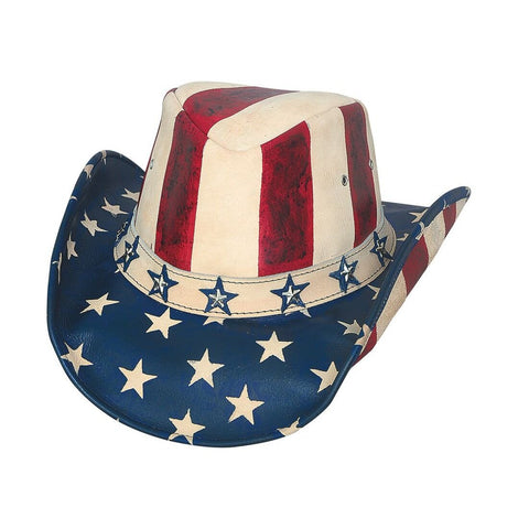 Bullhide American By Heart Red/White/Blue Leather Outback Hat - Hat - A - Tack