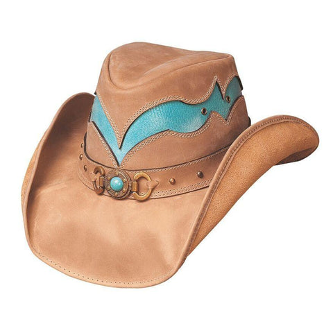 Bullhide Cascade Range Camel/Turquoise Leather Outback Hat - Hat-A-Tack