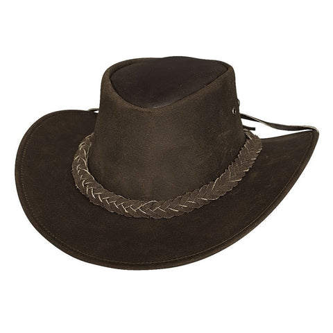 Bullhide Cedar Groove JR. Dark Brown Leather Childrens Outback Hat - Hat-A-Tack