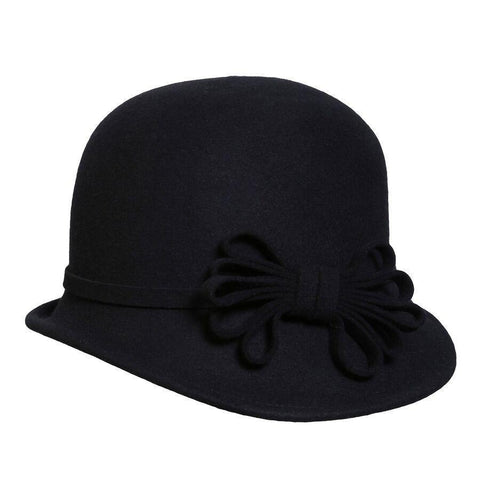 Conner Hats Covent Garden Wool Cloche Black Hat -Hat-A-Tack