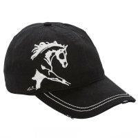 Distressed Baseball Cap with Extended Trotting Horse - Hat - A - Tack
