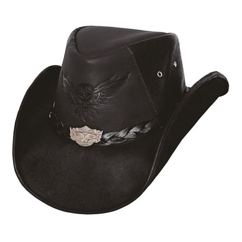 Bullhide King Of The Road Black Leather Outback Hat - Hat - A -Tack