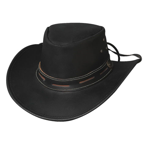 a30715027d8 Bullhide Maitland Black Leather Outback Hat - Hat - A - Tack