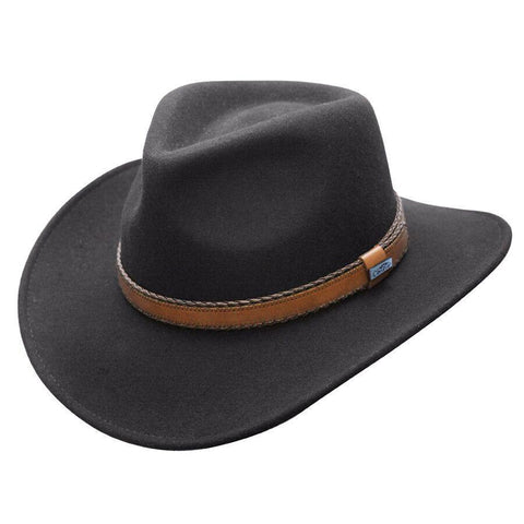 Conner Hats Outback Creek Crushable Black Wool Hat - Hat-A-Tack