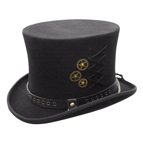 Conner Hats SteamPunk Black Top Hat - Hat-A-Tack