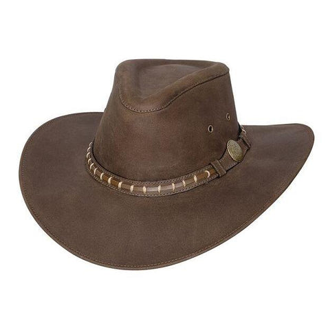 Bullhide Timber Mountain Brown Leather Outback Hat - Hat - A - Tack