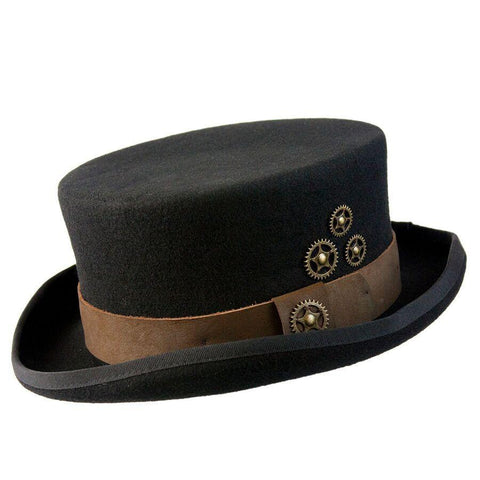Conner Hats Time Travel Steampunk Black Top Hat - Hat-A-Tack