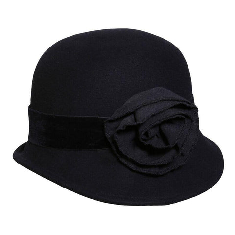 Conner Hats Velvet Park Black Wool Cloche Hat - Hat-A-Tack