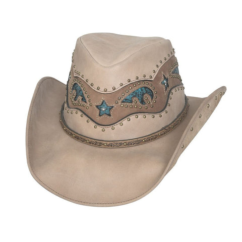Bullhide Worth It Beige Leather Outback Hat - Hat - A - Tack