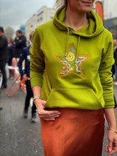 Meet our Moss Green Hoodie with Floral Embroidered Star