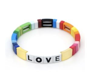 Happy gold LOVE tile bracelet from Wear the Stars