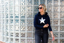 Meet Our Navy Hoodie with Silver Foil Star