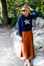 Wear the Stars women's navy organic cotton hoodie with leopard embroidered star