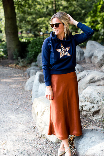 Meet Our Navy blue Hoodie with Leopard Embroidered Star