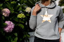 Wear the Stars women's marl grey organic cotton hoodie with gold foil star