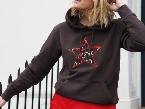 NEW Meet our Chocolate Brown Hoodie with Leopard Embroidered Star