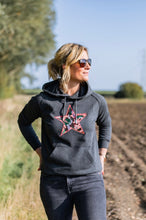 Meet Our Charcoal grey Hoodie with Camo Embroidered Star
