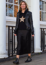 Meet Our Black Hoodie with Leopard Embroidered Star