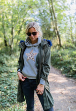 Meet our Grey Hoodie with Leopard Embroidered Star