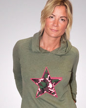 Meet our Khaki Hoodie with Camo Embroidered Star