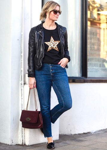 Wear the Stars women's black organic cotton sweatshirt with leopard embroidered star