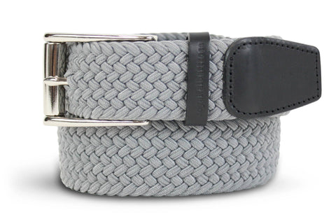 Men's Woven Belt | Easy Fit Grey Golf Webbing | Royal Albartross The Balzo Grey M-B-BWV-BZ-GY-S